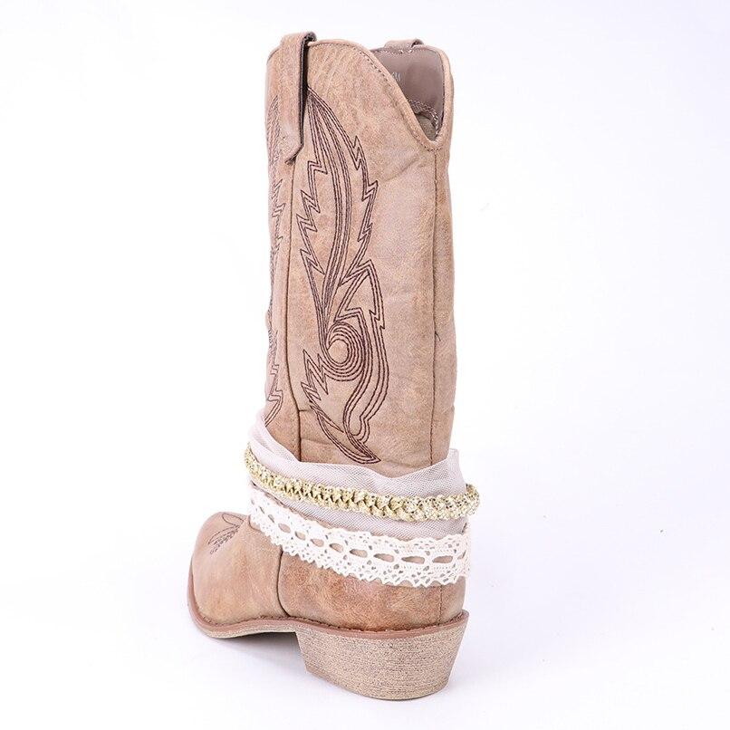 Da Cowgirl Per Retro Delle Di Scarpe Coffee Donne Tacchi Boots fg4qPw
