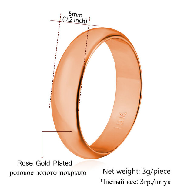 Gold Color 5MM Wide Fashion Wedding Rings