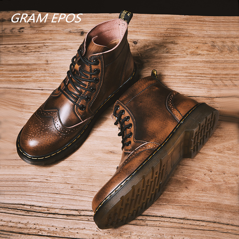 New Work & Safety Shoes Brand Martens Genuine Leather Military Top Quality Boots Men Oxfords Shoes Motorcycle Mens Ankle Boots