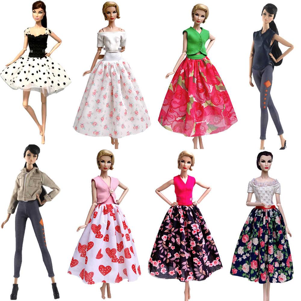 NK Mais Recente Vestido Da Boneca Roupa Bonita Handmade Nobre Roupas de Festa Top Fashion Saia Para Barbie Doll Melhor Criança Girls'Gift JJ