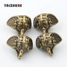 8 Uds 28*23mm antiguo elefante Vintage bronce joyero caja de madera Protección decorativa pies pierna material plástico