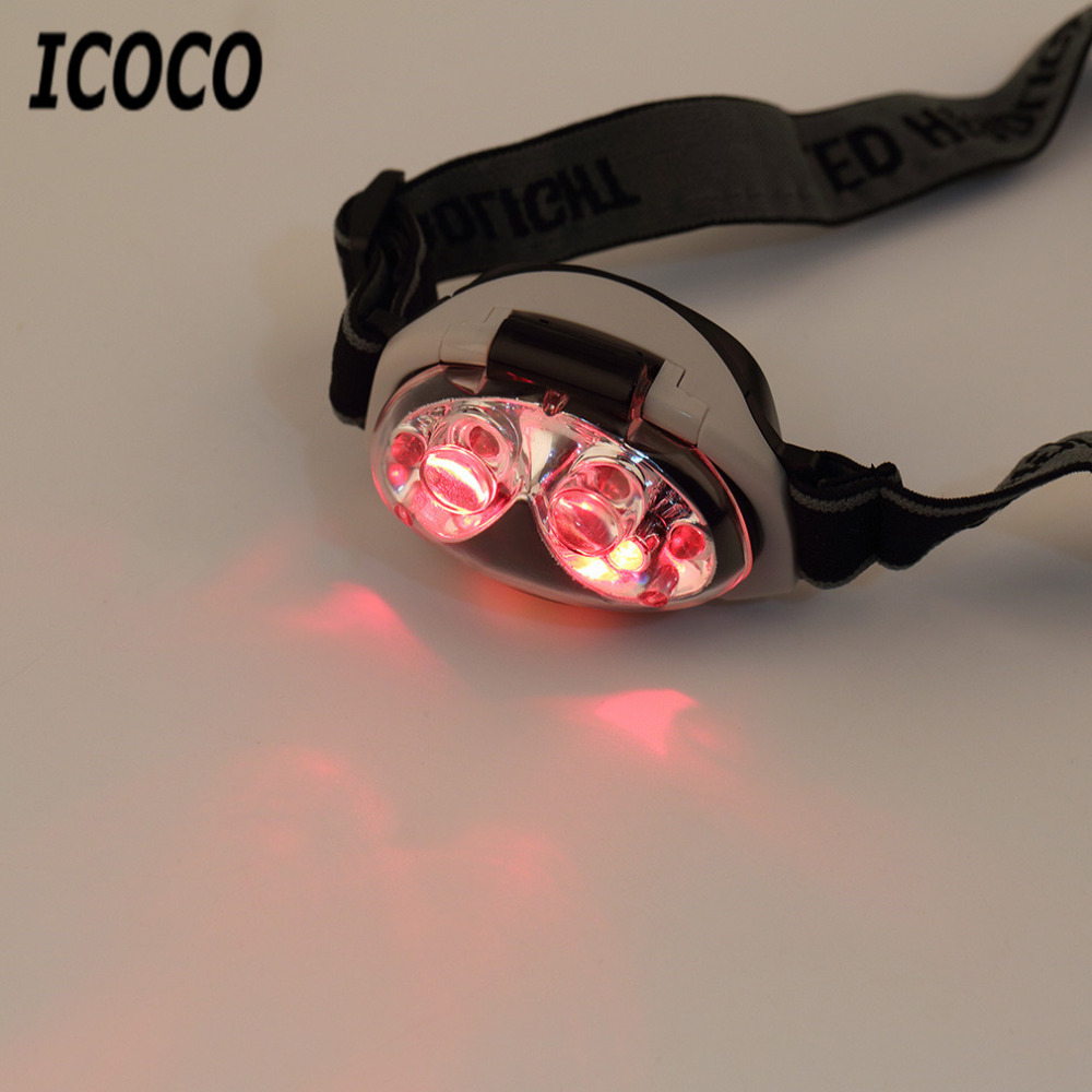 ICOCO Black & White 12000MCD Waterproof Ultra Bright 6 LED Head Lamp Light Torch Headlamp Headlight 3 Modes for Outdoor Camping