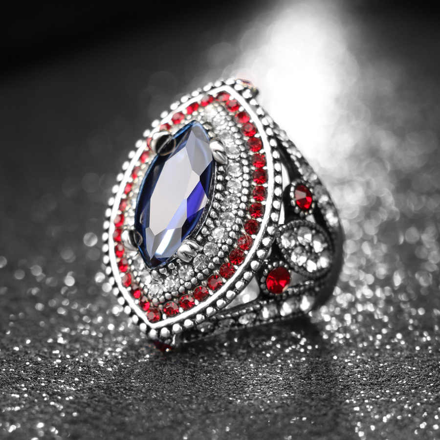 新着ファッションビッグ指シルバーカラーリング高級クリスタルの結婚指輪ヴィンテージブルガリアジュエリー送料無料