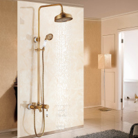 Antique European Rainfall Shwoer Set 8 Inch Shower Head Brass And Ceramic Shower Accessories Bathroom Faucet Water Set