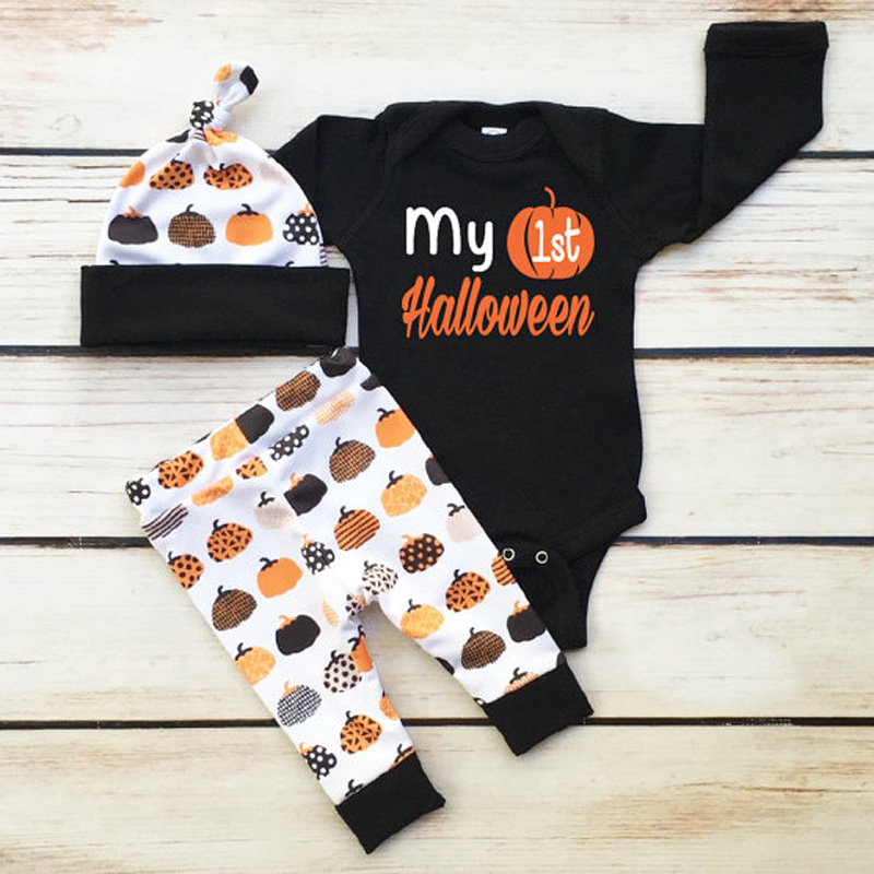 Boys'halloween Pumpkin Printed Clothes Climbing Suits For Children In Europe And America In Spring And Autumn