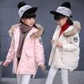 Девушки зимняя куртка хлопок проложенный утолщаются дети верхняя одежда с капюшоном теплый средней длины девушки зимнее пальто для 3-10 Т