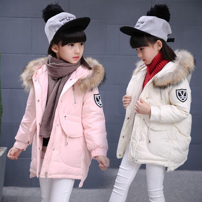 girls winter jacket down cotton padded thickening children outerwear coat hooded warm medium long girls winter
