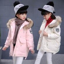 Девушки зимняя куртка вниз хлопка мягкий утолщение дети верхняя одежда пальто с капюшоном теплый средней длины девушки зимнее пальто для 3-10 Т