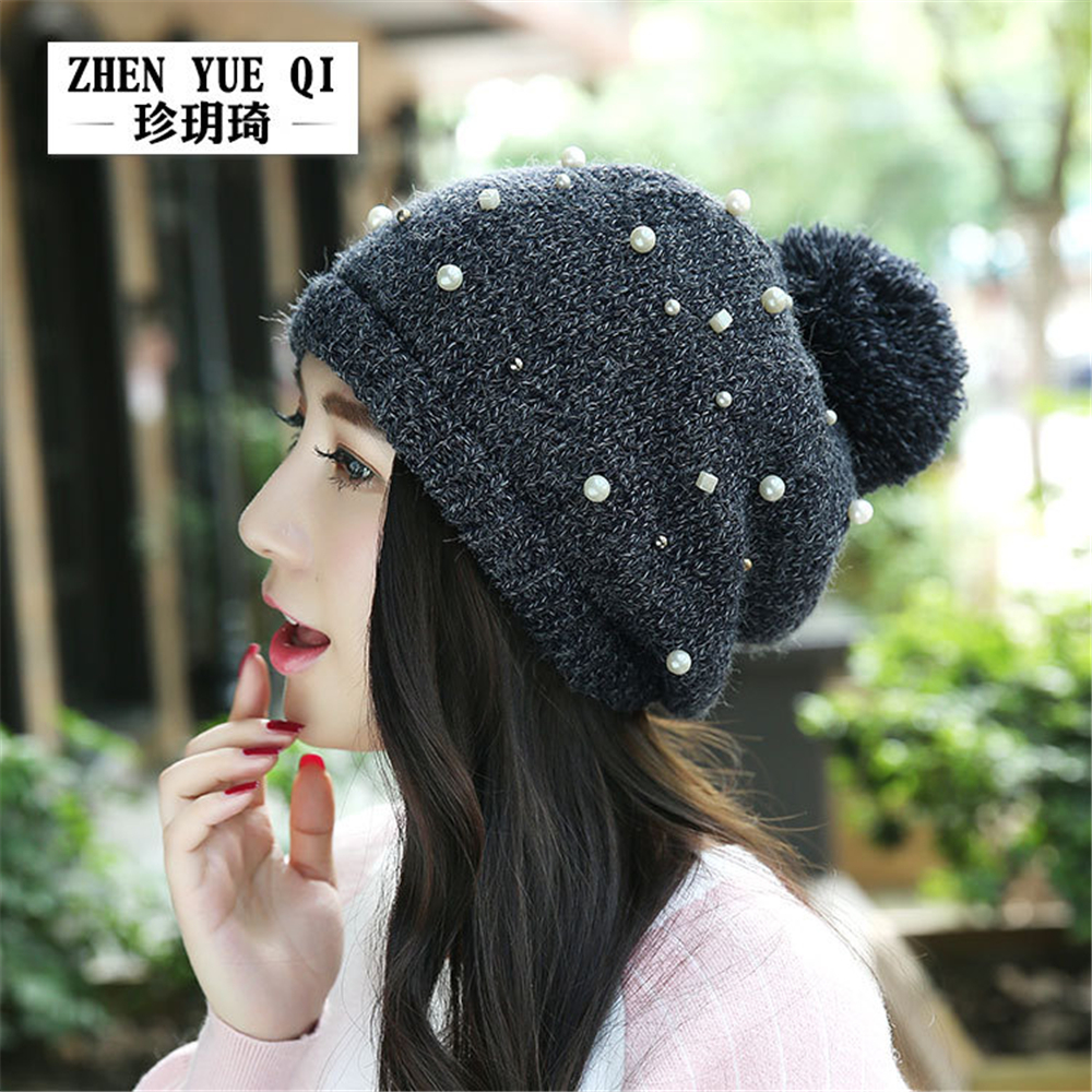 2017 Winter Beanies Women Pearl Decor gorros Brand Snowboard Winter hat skating Ski caps skullieswomen Hip Hop caps Red Beige sn su sk snowboard gorros winter ski hats skating caps skullies and beanies for men women hip hop caps knitting bonnet chapeu