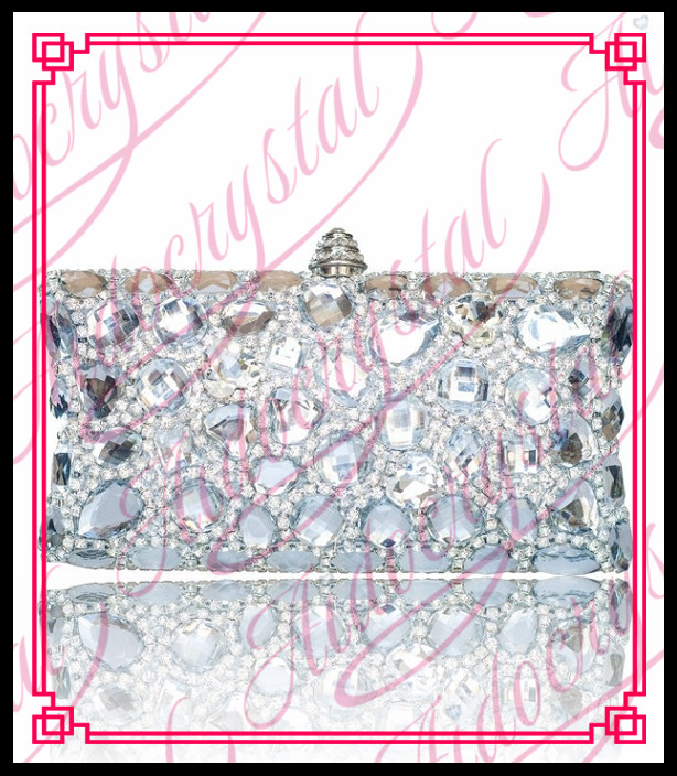 Aidocrystal 2016 New Design Silver white diamond Crystal clutch purses bag for women handmade Bling evening