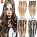 Color #18/613 Brazilian Virgin Hair Clip In Human Hair Extensions Full Head 70g-120g Platinum Blonde Remy Human Hair Clip In