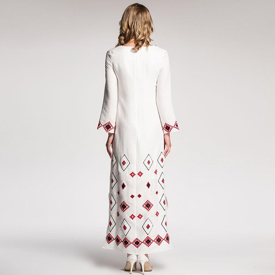 Manches V 2018 Mode Side Nouveau Nouveauté Col Blanc Plaids Robes Vintage Longues Printemps Broderie Élégant split Robe Paillettes 2EYD9WHI
