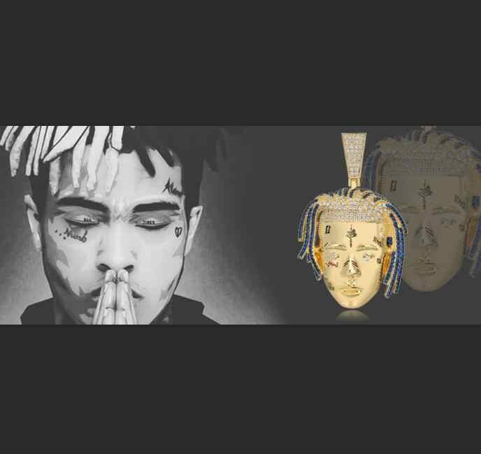 TOPGRILLZ ส่วนบุคคล Rapper XXXTentacion จี้สร้อยคอผู้ชาย Iced Out CZ Chains Hip Hop/Punk Gold Charms ของขวัญเครื่องประดับ