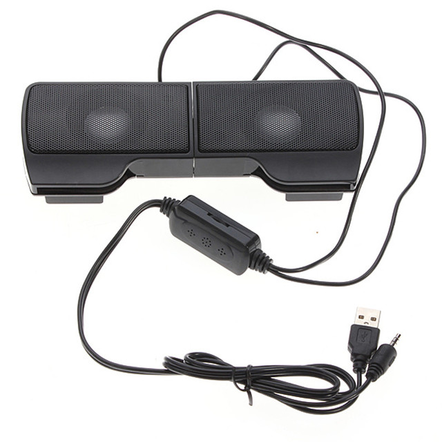 SCOMAS Portable Mini USB Stereo Speaker Soundbar clipon Speakers for Notebook Laptop Phone Music Player Computer PC with Clip 1