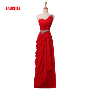 New arrival elegant party dress evening dresses Vestido de Festa gown one-shoulder crystal sashes pleat sashes free shipping