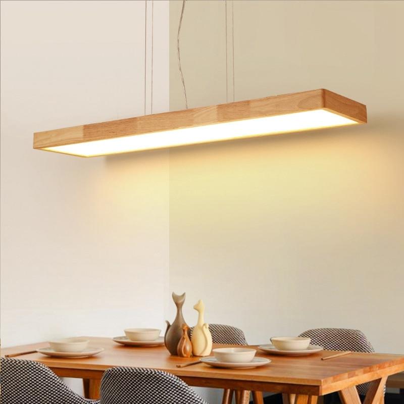 LukLoy Nordic Modern Minimalist Solid Wood Pendant Light LED Strip Bar Lamp Rectangular Office Restaurant Cofe Pendant light|Pendant Lights| |  - title=