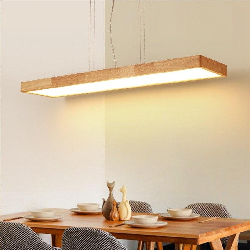 LukLoy Nordique Moderne Minimaliste En Bois Massif Pendentif Lumière LED Strip Bar Lampe Rectangulaire Bureau Restaurant Cofe Pendentif lumière