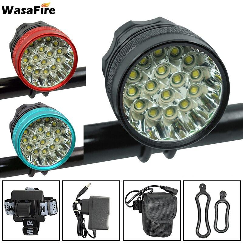 WasaFire 40000 lm 16 xT6 lampe LED de vélo phare avant équitation vélo lumière avant pour équitation en plein air + batterie 9600 mAh