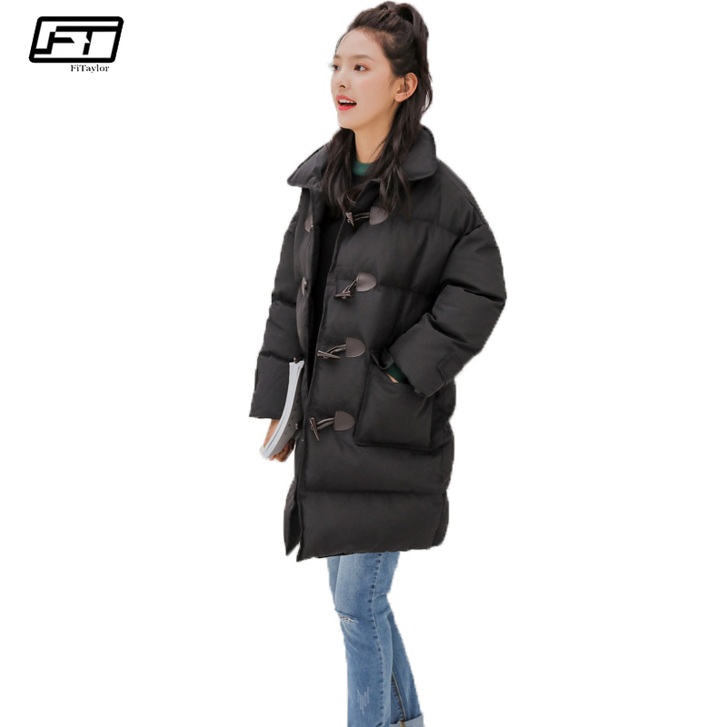 Fitaylor Winter Coat Women Jacket 2017 casual loose Long black parka mujer Thick Paragraph Female Costume Cotton padded coats hijklnl women casual letter printed hooded long jacket 2017 winter thick coats female loose overcoat cotton parka mujer na340