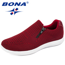 BONA New Mesh Weaving Upper Women Casual Shoes Round Toe Ladies Flats Light Soft Women Vulcanize Shoes Confortable Free Shipping(China)