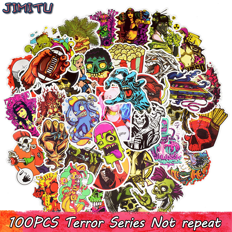 100pcs Terror Rock Sticker Skeleton Dark Sexy Funny Stickers for DIY Travel Case Laptop Fridge Bicycle Phone Car Guitar Stickers 12 11cm funny sexy witch lady gir sexy witch lady car stickers car sticker decals black silver blue yellow ct 585