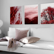 цена Red Maple Reed Fog Mountain Landscape Wall Art Canvas Painting Nordic Posters And Prints Wall Pictures For Living Room Decor онлайн в 2017 году
