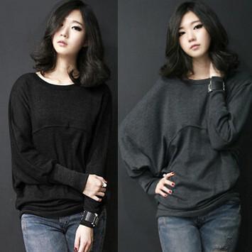 Nuevo otoño invierno de la mujer casual camisa de manga larga camisa de Manga murciélago suelto camiseta de Las Señoras