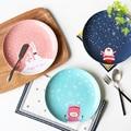 10 дюймов Новый Год Рождественский подарок посуда костюм ручной росписью керамическая плита стейк блюдо на обед детей детское питание основной пластины блюдо