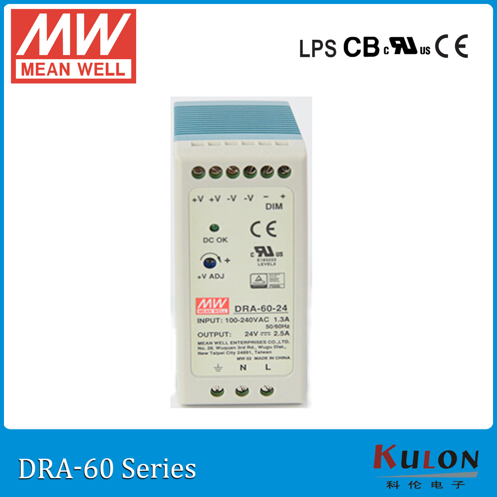 Original MEAN WELL DRA-60-12 60W 5A 12V Industrial DIN Rail Mounted and adjustable meanwell Power Supply