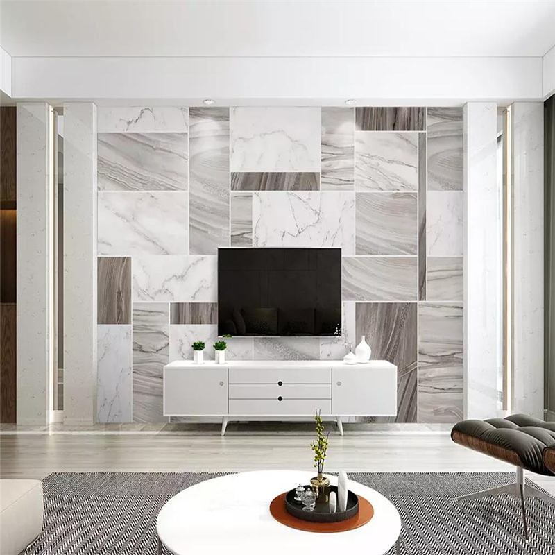 Decorative Wallpaper Northern Europe Contracted Style Marble Grain Abstract Geometry Golden TV Background Wall
