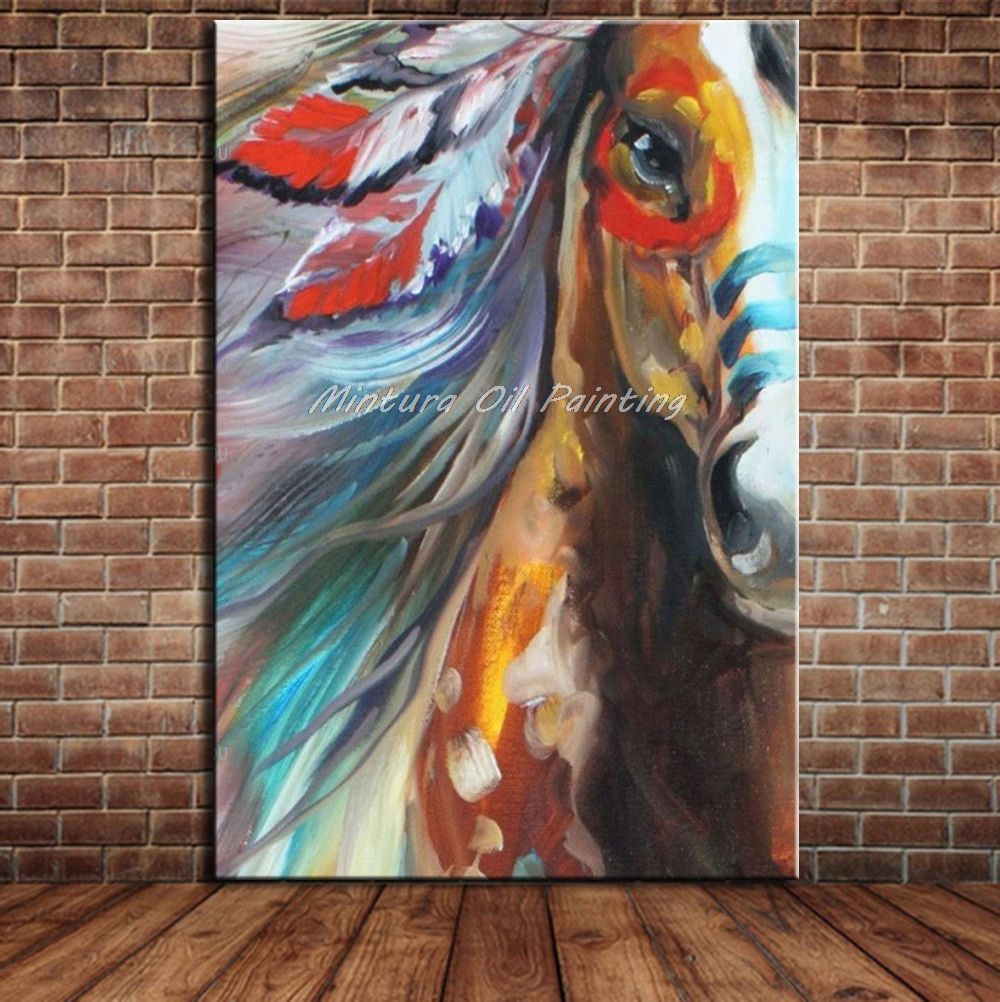 Mintura art paintings abstract horse painting handmade oil paintings for sale modern abstract oil painting for home wall decor