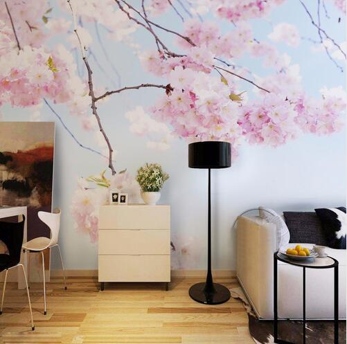 3d japonais papier peint photo peintures murales cerise - Wandtattoo hinter fernseher ...