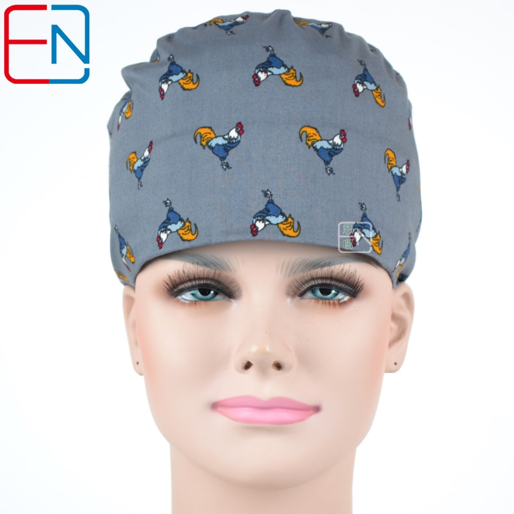 Hennar Scrubs Caps 2018 Print New Women Adjust Size Freely Surgical Caps Hospital Doctor Medical Elastic Gray Caps Masks Unisex