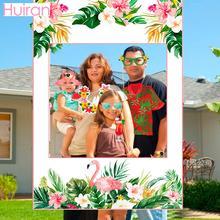 HUIRAN ฮาวายตกแต่งสีชมพู Flamingo ตกแต่งฤดูร้อน Tropical Hawaiian PARTY Favors Supplies Luau Aloha PARTY Decor