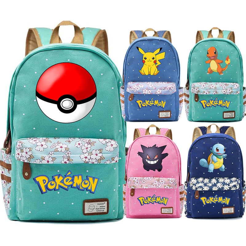 Anime Squirtle Pikachu Charmander Flowers Dot Boy Girl School bag Women Bagpack Teenagers Schoolbag Canvas Lady Femme Backpack 9 image