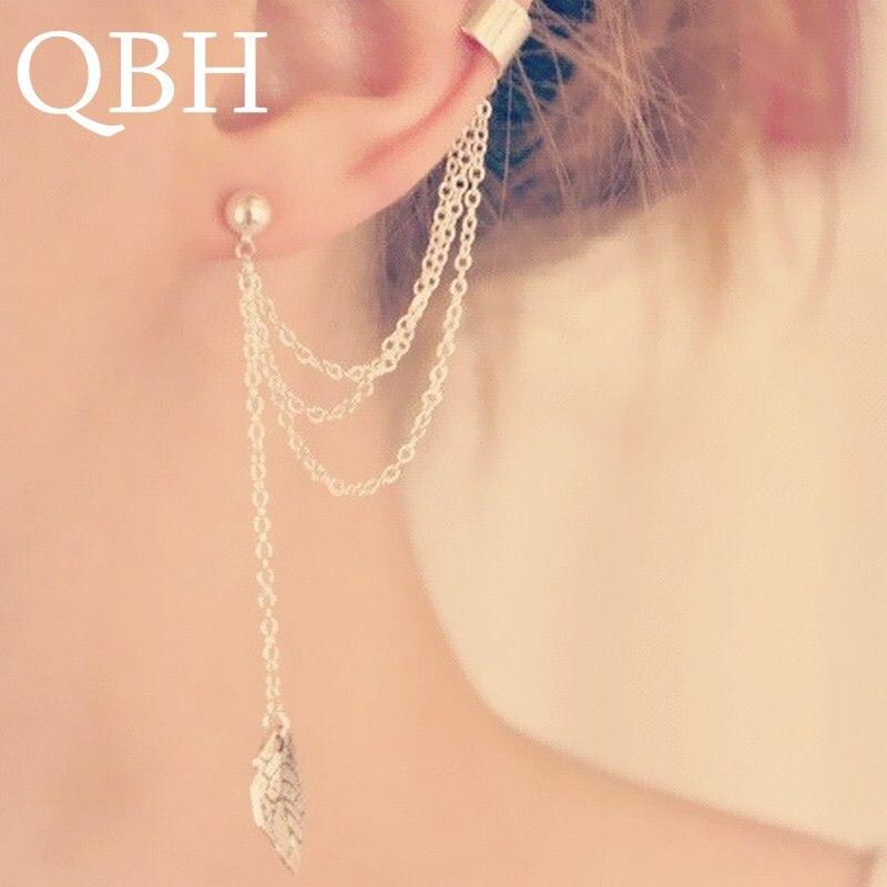EK667 1pc New Punk Mujer Brincos Girl Leaf Chain Long Tassel Ear Cuff Clip Earrings For Women Jewelry Boucles Pendientes Bijoux