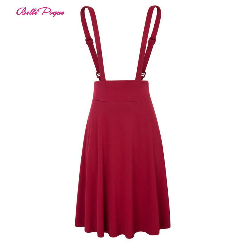 Belle Poque Black/Dark Red Women's Vintage Solid Color High Waist Strap Overall Flared A-Line Suspender Skirt Pinafore Skirt(China)