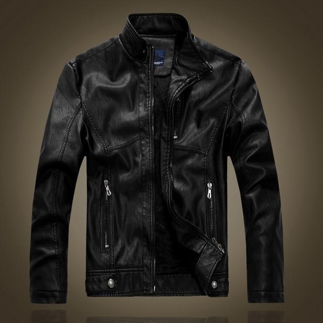 Горячая Продажа мужская повседневная теплые кожаные куртки Ретро стиль мотоцикл кожаное пальто высокого качества для мужчин плюс бархат кожаное пальто
