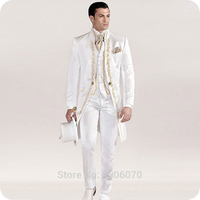 Итальянский Винтаж белый фрак вышивка Для мужчин костюмы для Нарядные Костюмы для свадьбы Блейзер длинная куртка штаны жилет жениха Костюм