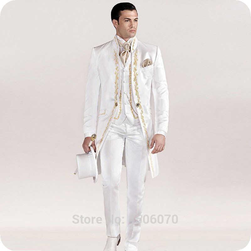 イタリアヴィンテージホワイト燕尾服刺繍の男性が結婚式スーツスリムブレザーロングジャケットパンツ新郎タキシード衣装