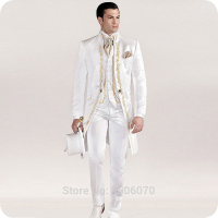 Italian Vintage White Tailcoat Embroidery Men Suits for Wedding Suits Slim Blazer Long Jacket Pants Vest Groom Tuxedos Costume