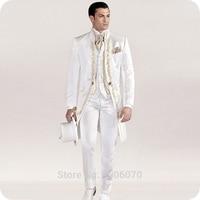 Italian Vintage White Tailcoat Embroidery Men Suits for Wedding Suits Slim Blazer Long Jacket Pants Vest Groom Tuxedos Costume