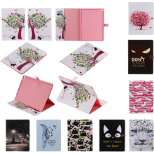 Cat Feather Flower Tree Print PU Leather Smart Case For apple ipad pro 12.9 flip stand Cover for ipadpro 12.9″ Tablet Cases