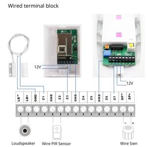 GSM Проводная система сигнализации Встроенная антенна сигнализация Охранная домашняя сигнализация Русский Английский Испанский голос с детектором дыма