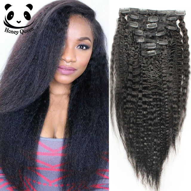 Kinky Straight Clip In Human Hair Extensions Italian Yaki Human Hair