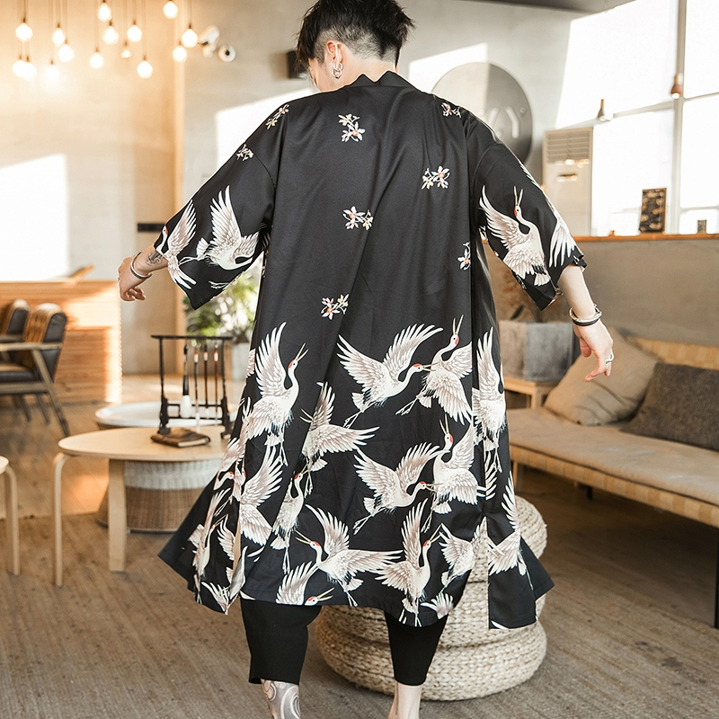 Blouses Male Hawaiian Shirt Men Japanese Kimono Cardigan Harajuku Japanese Streetwear Clothing Cool Blouse Male Shirt KZ2003