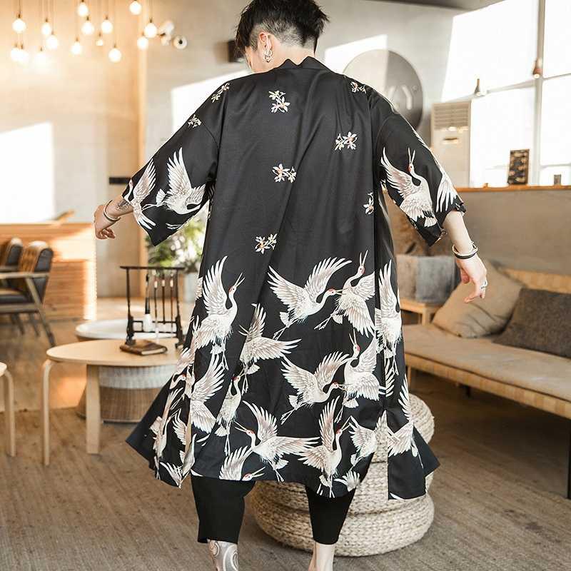Camicette maschio camicia hawaiana uomini kimono Giapponese cardigan harajuku Giapponese streetwear abbigliamento fresco camicia maschile camicia KZ2003