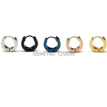FREE DHL MIXED ORDER 5 Colors for choice 4mm width Male titanium Fashion cool ear buckle a lot 50 pair earring