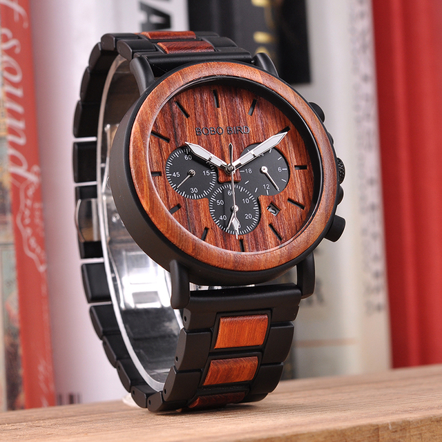 Wood and Stainless Steel Luminous Hands Stop Wristwatches