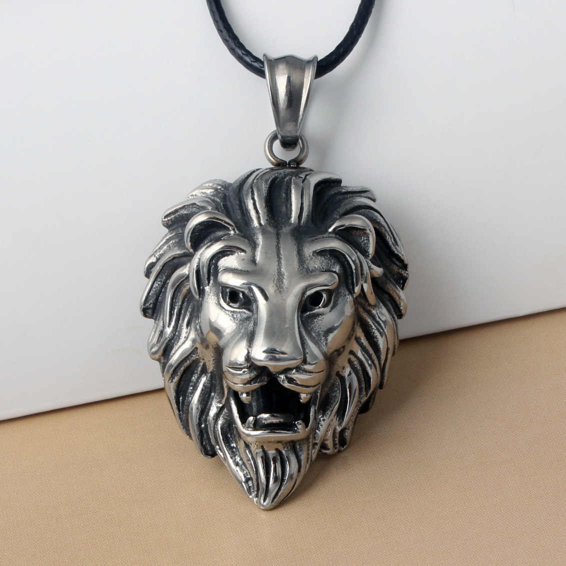 HOMOD Hip Hop Big Lion Head Pendant & Necklace Animal King Vintage Stell Color Hiphop Rope Chain For Men Women Jewelry Gift